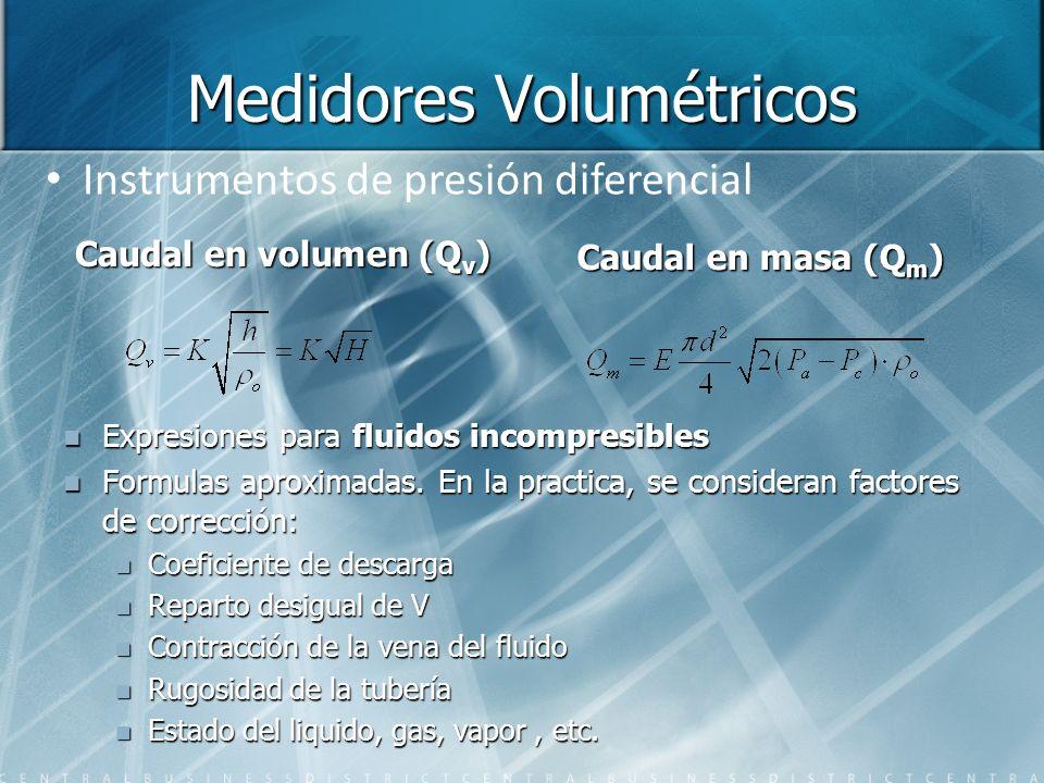 Medidores Volumétricos Caudal en volumen (Q v ) Expresiones para fluidos incompresibles Formulas aproximadas. En la practica, se consideran factores d