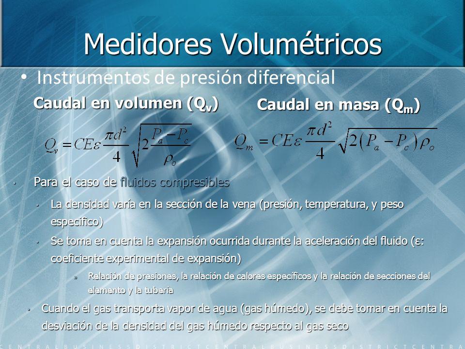 Medidores Volumétricos Para el caso de fluidos compresibles La densidad varía en la sección de la vena (presión, temperatura, y peso especifico) Se to