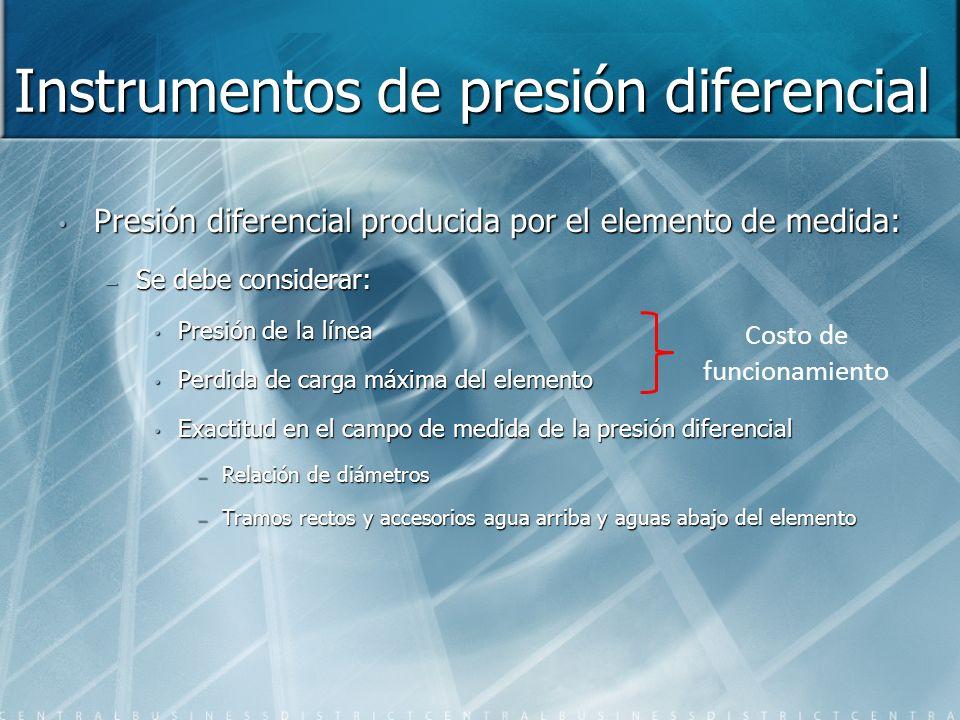 Instrumentos de presión diferencial Presión diferencial producida por el elemento de medida: – Se debe considerar: Presión de la línea Perdida de carg