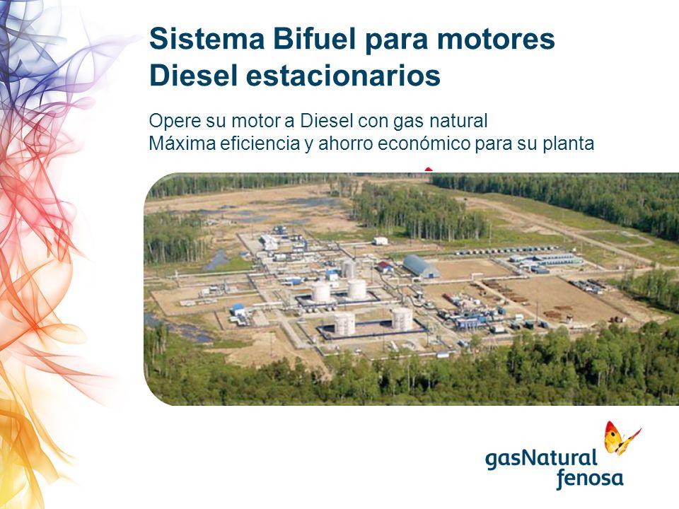 Opere su motor a Diesel con gas natural Máxima eficiencia y ahorro económico para su planta Sistema Bifuel para motores Diesel estacionarios