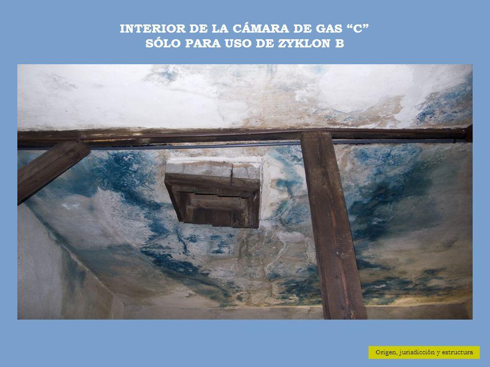 Origen, jurisdicción y estructura INTERIOR DE LA CÁMARA DE GAS C SÓLO PARA USO DE ZYKLON B