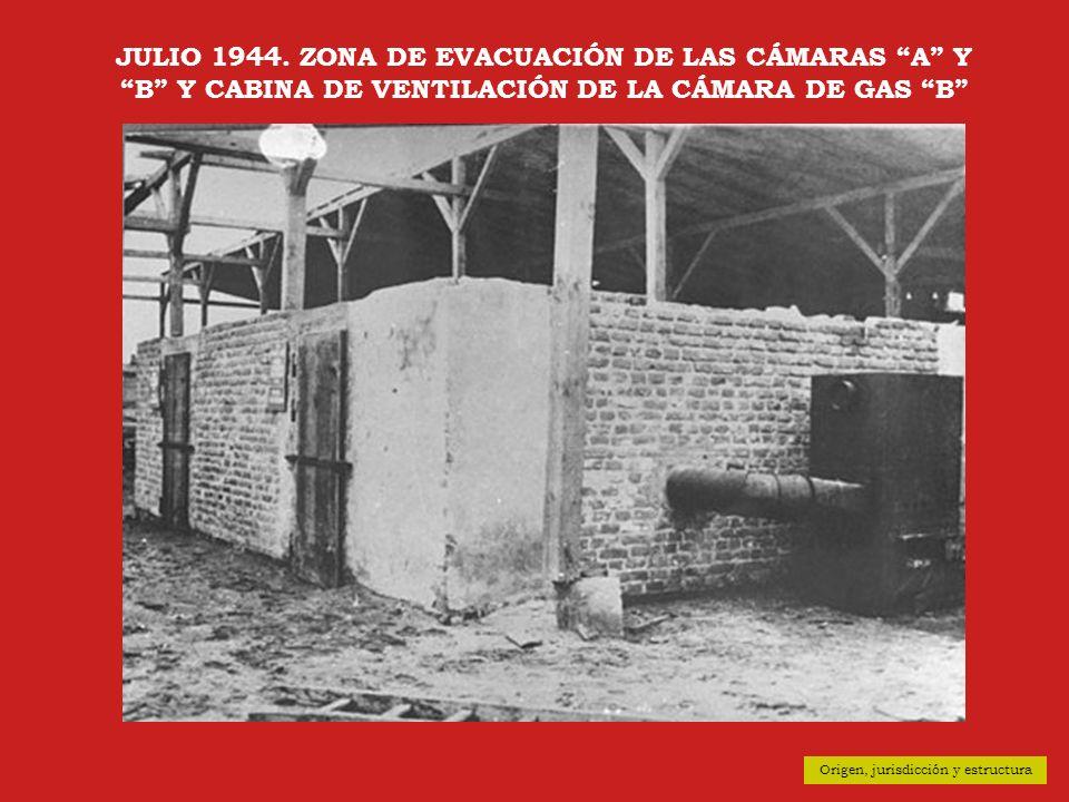 JULIO 1944. ZONA DE EVACUACIÓN DE LAS CÁMARAS A Y B Y CABINA DE VENTILACIÓN DE LA CÁMARA DE GAS B
