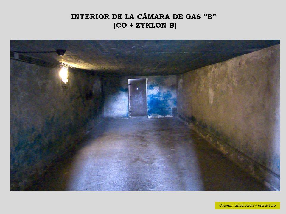 INTERIOR DE LA CÁMARA DE GAS B (CO + ZYKLON B) Origen, jurisdicción y estructura