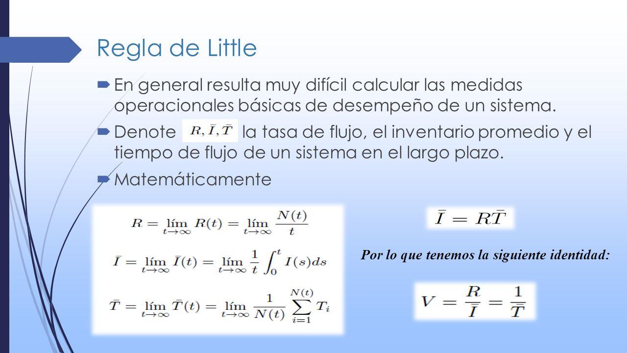 Regla de Little En general resulta muy difícil calcular las medidas operacionales básicas de desempeño de un sistema. Denote la tasa de flujo, el inve