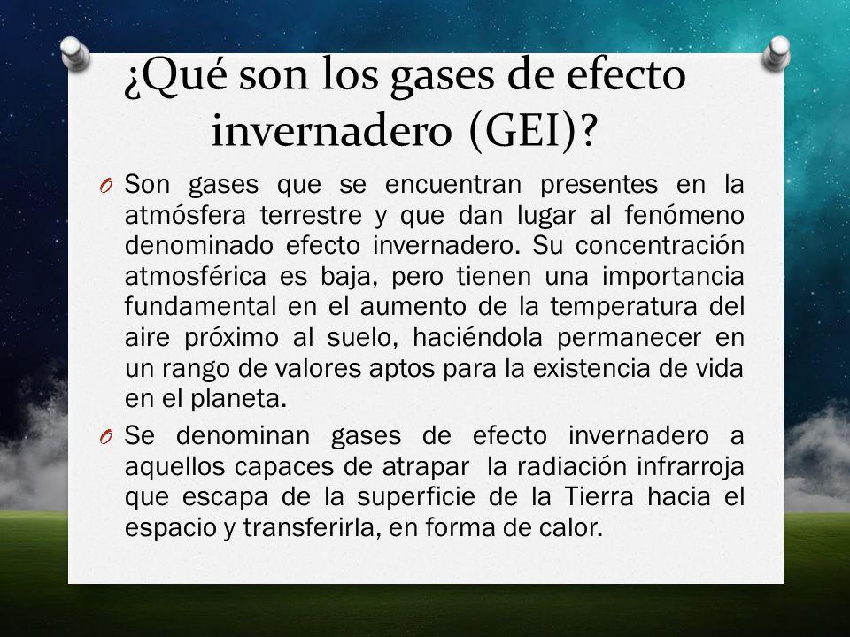 ¿Qué son los gases de efecto invernadero (GEI)? O Son gases que se encuentran presentes en la atmósfera terrestre y que dan lugar al fenómeno denomina