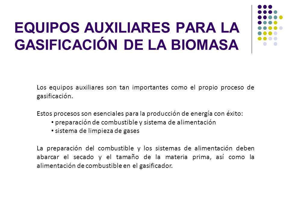 EQUIPOS AUXILIARES PARA LA GASIFICACIÓN DE LA BIOMASA Los equipos auxiliares son tan importantes como el propio proceso de gasificación. Estos proceso
