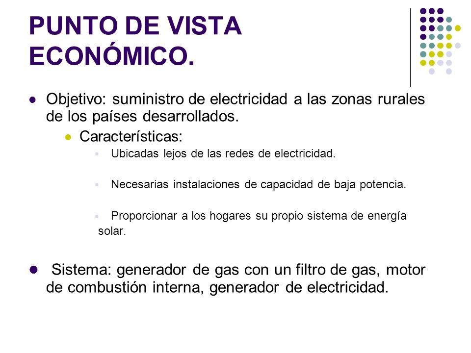 PUNTO DE VISTA ECONÓMICO. Objetivo: suministro de electricidad a las zonas rurales de los países desarrollados. Características: Ubicadas lejos de las