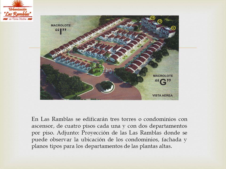 En Las Ramblas se edificarán tres torres o condominios con ascensor, de cuatro pisos cada una y con dos departamentos por piso. Adjunto: Proyección de