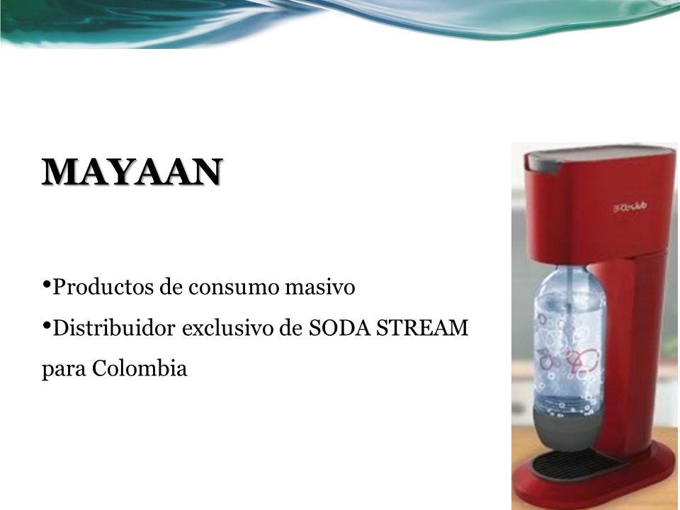 MAYAAN Productos de consumo masivo Distribuidor exclusivo de SODA STREAM para Colombia