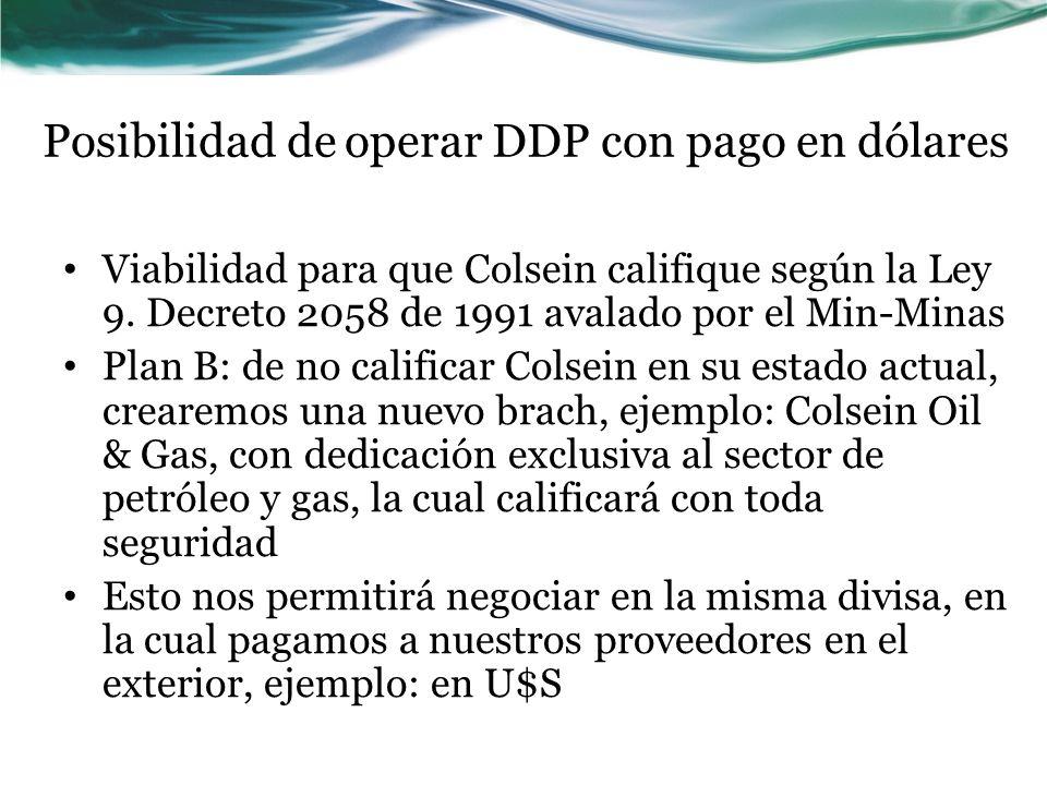 Posibilidad de operar DDP con pago en dólares Viabilidad para que Colsein califique según la Ley 9.