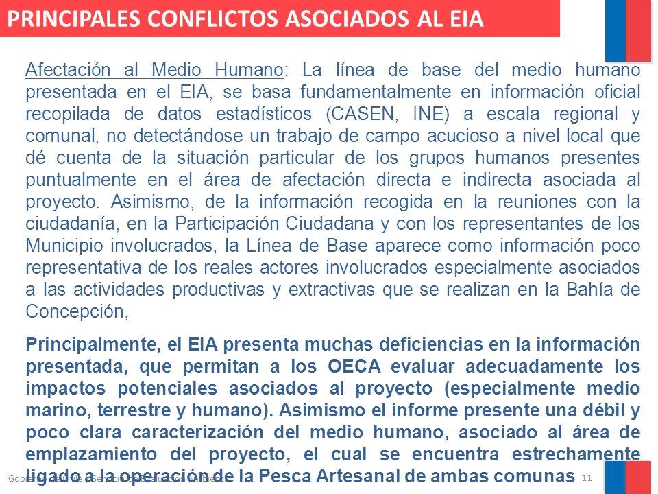 11 Gobierno de Chile | Servicio de Evaluación Ambiental Afectación al Medio Humano: La línea de base del medio humano presentada en el EIA, se basa fu