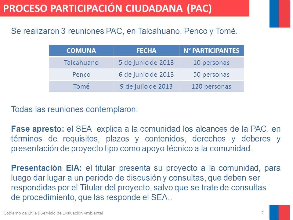 Gobierno de Chile | Servicio de Evaluación Ambiental 7 PROCESO PARTICIPACIÓN CIUDADANA (PAC) Se realizaron 3 reuniones PAC, en Talcahuano, Penco y Tom