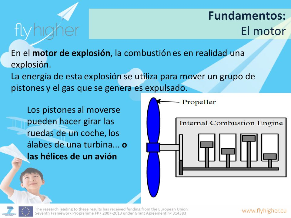 www.flyhigher.eu En el motor de explosión, la combustión es en realidad una explosión. La energía de esta explosión se utiliza para mover un grupo de
