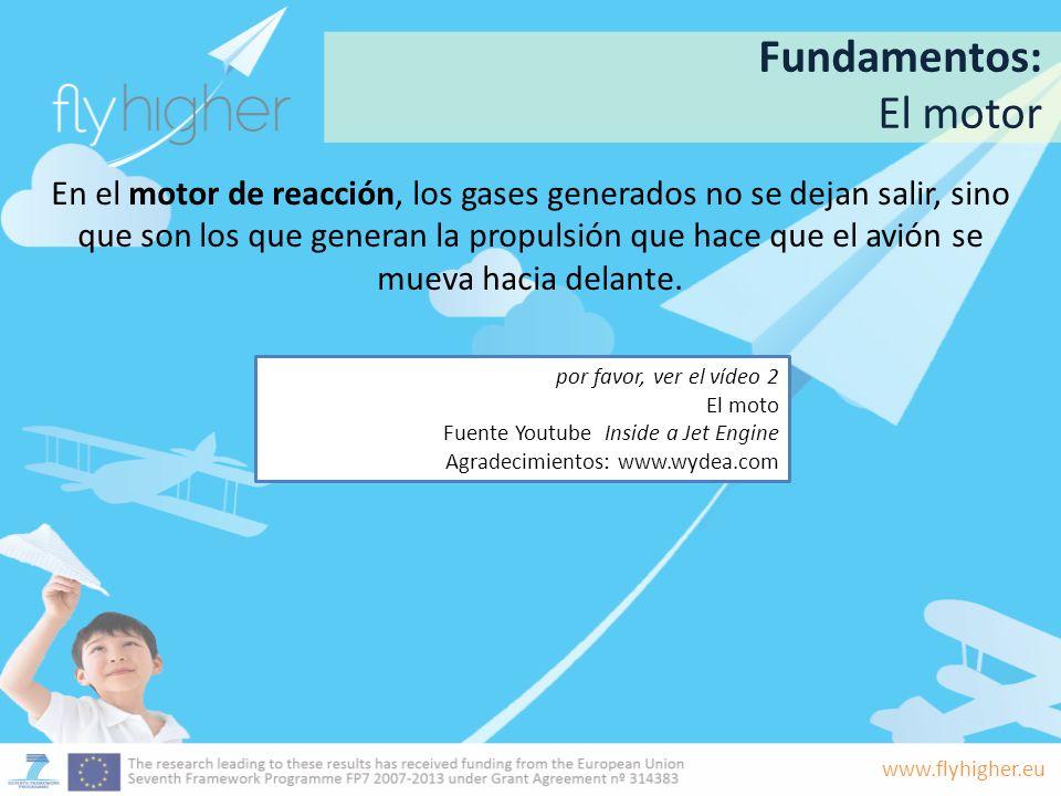 www.flyhigher.eu En el motor de reacción, los gases generados no se dejan salir, sino que son los que generan la propulsión que hace que el avión se m