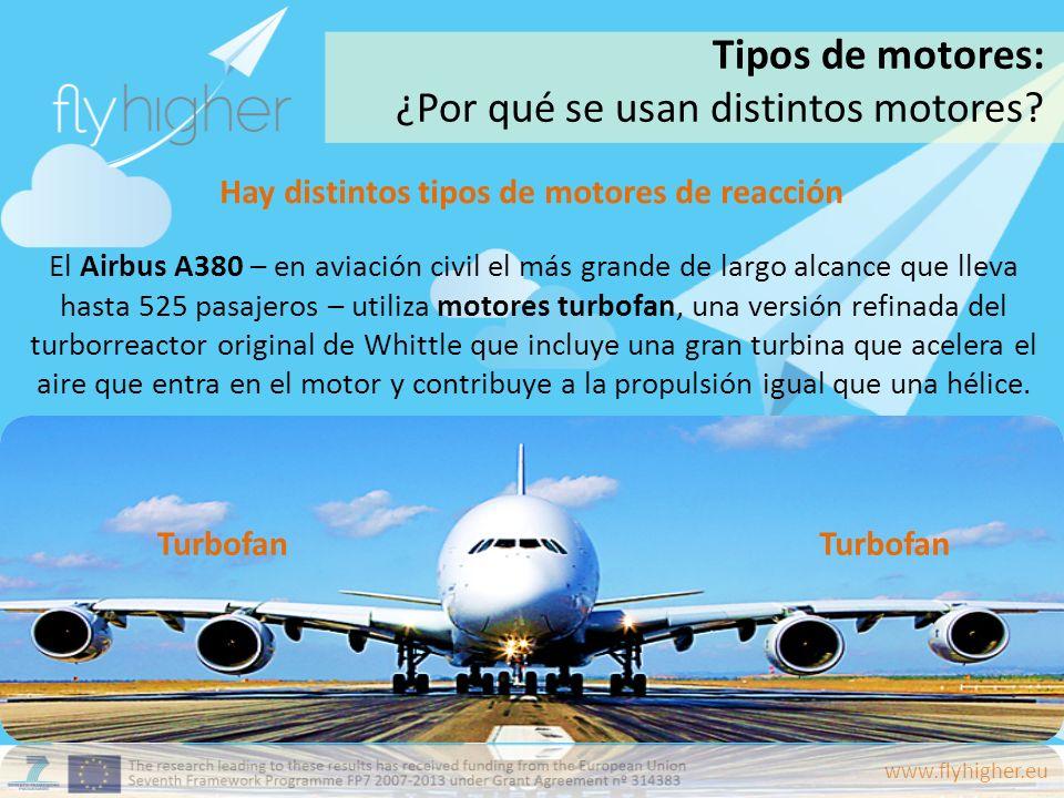 www.flyhigher.eu Hay distintos tipos de motores de reacción El Airbus A380 – en aviación civil el más grande de largo alcance que lleva hasta 525 pasa