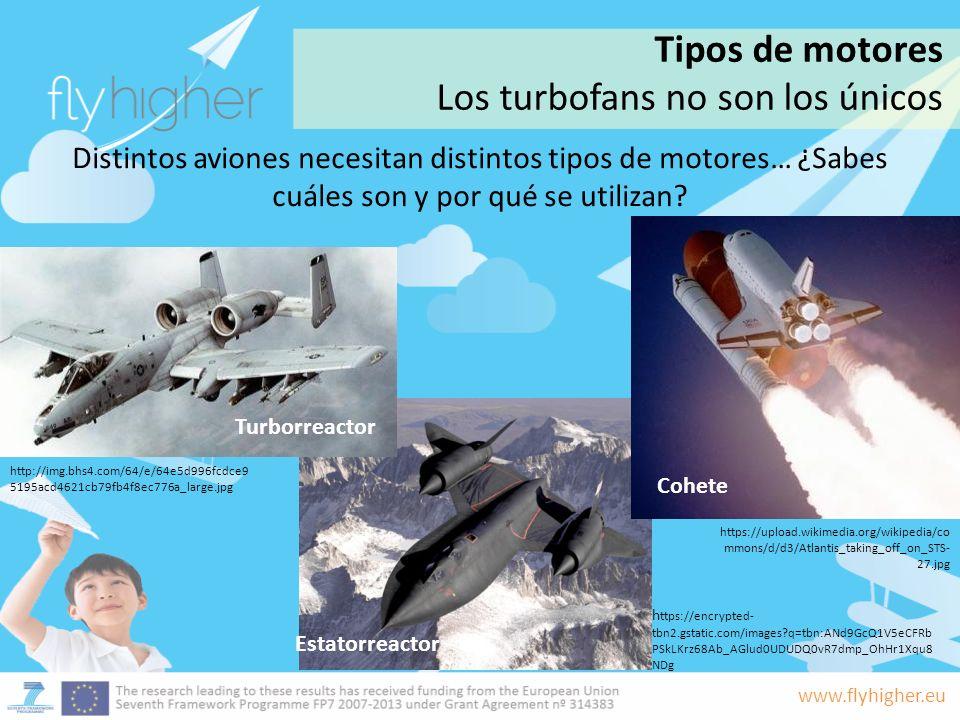 www.flyhigher.eu Distintos aviones necesitan distintos tipos de motores… ¿Sabes cuáles son y por qué se utilizan? Estatorreactor Turborreactor Cohete