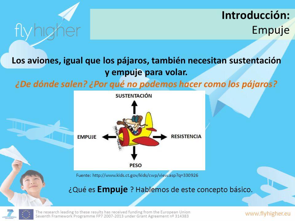 www.flyhigher.eu Los aviones, igual que los pájaros, también necesitan sustentación y empuje para volar. ¿De dónde salen? ¿Por qué no podemos hacer co