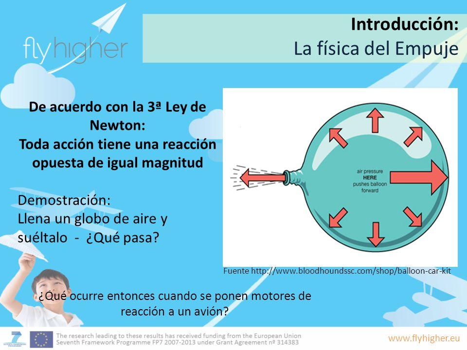www.flyhigher.eu De acuerdo con la 3ª Ley de Newton: Toda acción tiene una reacción opuesta de igual magnitud Demostración: Llena un globo de aire y s