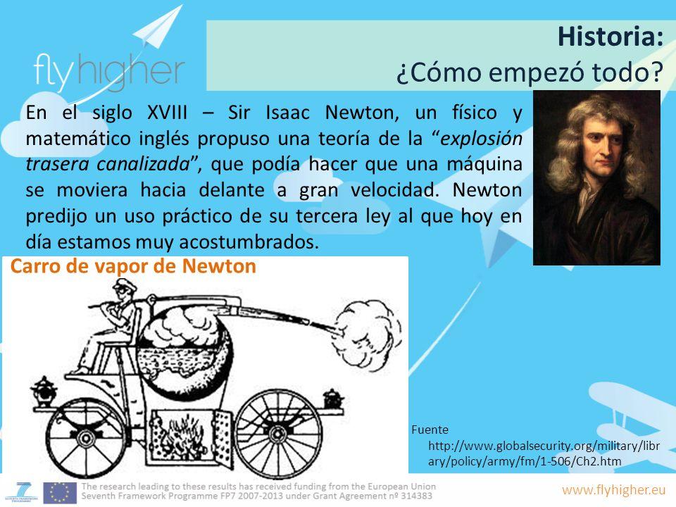 www.flyhigher.eu En el siglo XVIII – Sir Isaac Newton, un físico y matemático inglés propuso una teoría de la explosión trasera canalizada, que podía