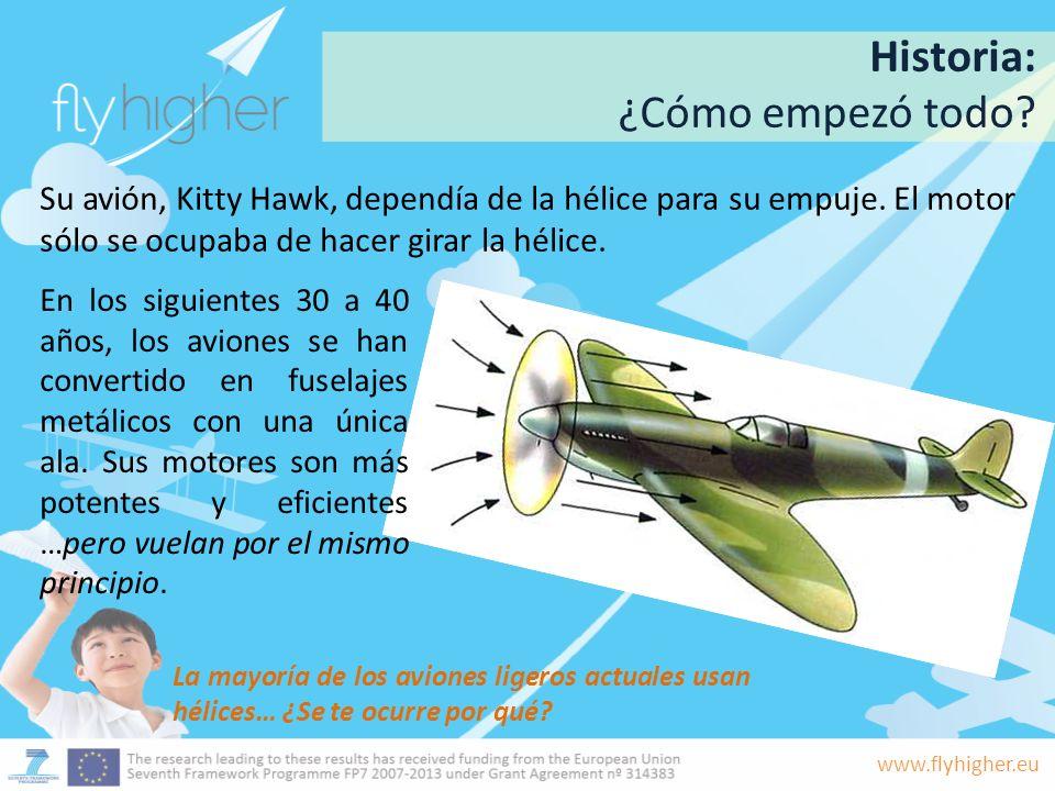 www.flyhigher.eu Su avión, Kitty Hawk, dependía de la hélice para su empuje. El motor sólo se ocupaba de hacer girar la hélice. La mayoría de los avio