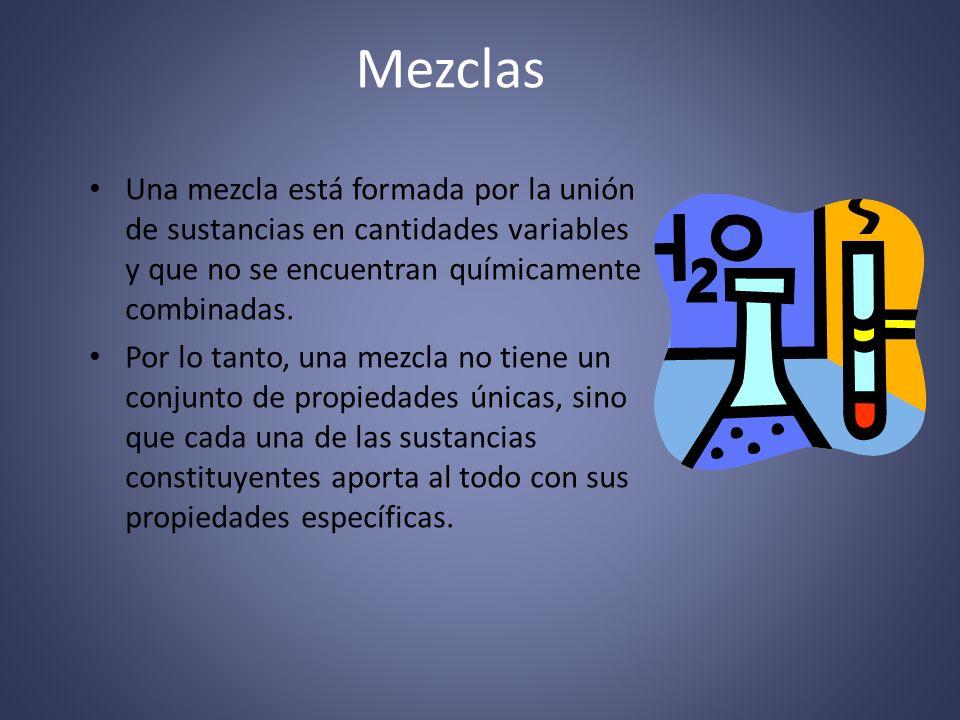 Características de las Mezclas Las mezclas están compuestas por una sustancia, que es el medio, en el que se encuentran una o más sustancias en menor proporción.