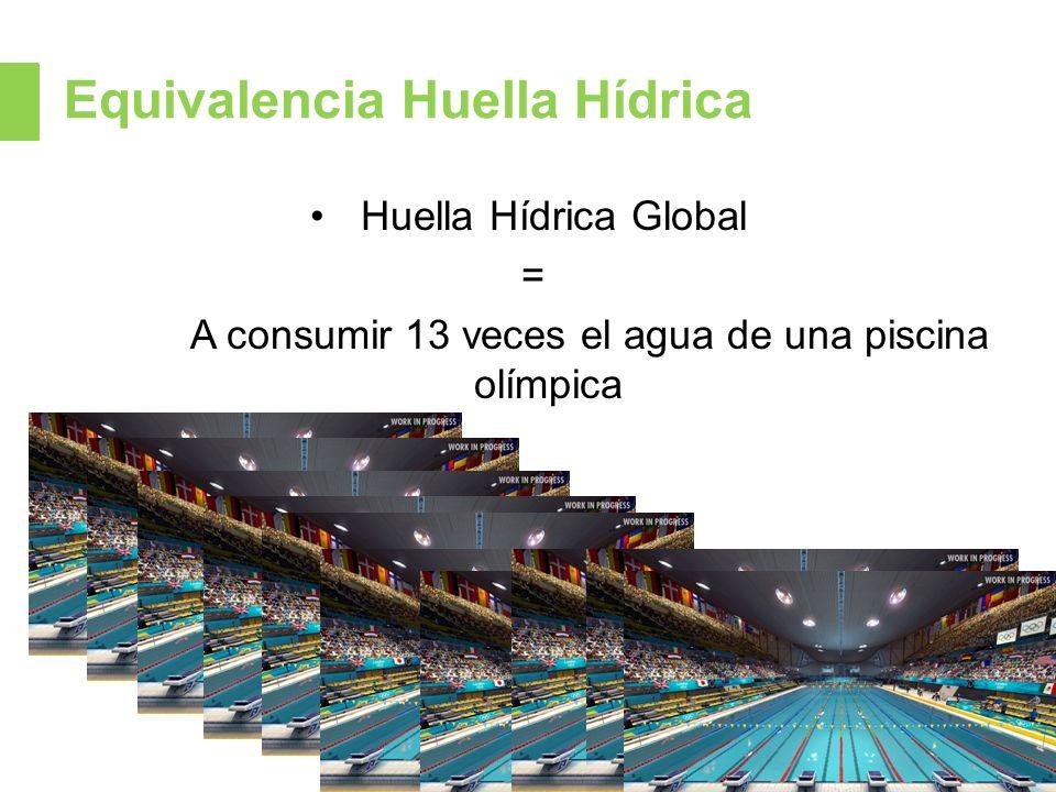 Equivalencia Huella Hídrica Huella Hídrica Global = A consumir 13 veces el agua de una piscina olímpica