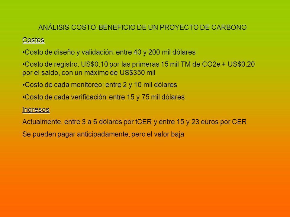 ANÁLISIS COSTO-BENEFICIO DE UN PROYECTO DE CARBONOCostos Costo de diseño y validación: entre 40 y 200 mil dólares Costo de registro: US$0.10 por las p