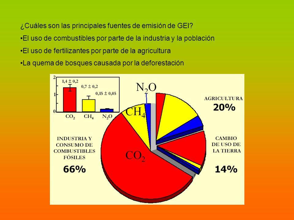 ¿Cuáles son las principales fuentes de emisión de GEI? El uso de combustibles por parte de la industria y la población El uso de fertilizantes por par