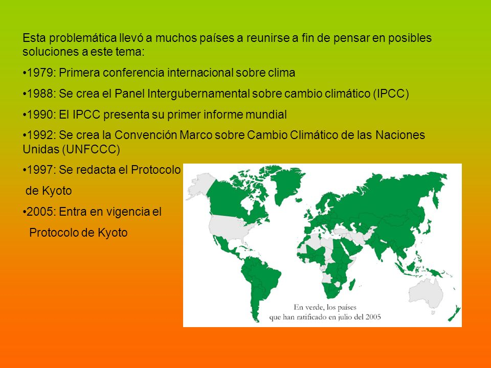 Esta problemática llevó a muchos países a reunirse a fin de pensar en posibles soluciones a este tema: 1979: Primera conferencia internacional sobre c