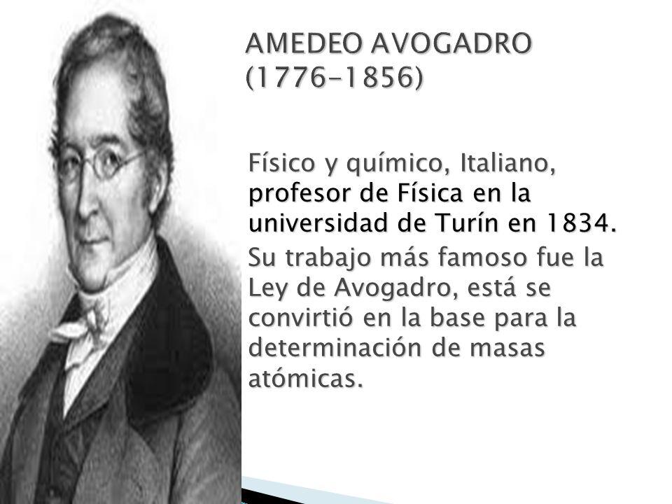 Físico y químico, Italiano, profesor de Física en la universidad de Turín en 1834. Su trabajo más famoso fue la Ley de Avogadro, está se convirtió en