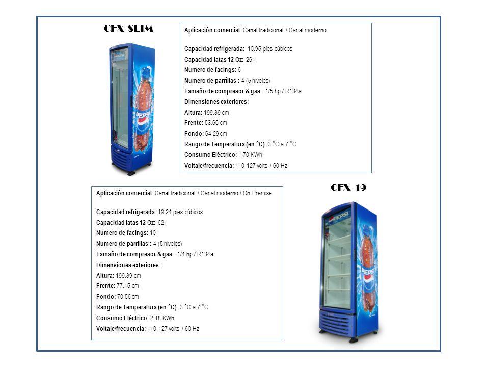 Aplicación comercial: Canal tradicional / Canal moderno Capacidad refrigerada: 15.20 pies cúbicos Capacidad latas 12 Oz: 340 Numero de facings: 14 Numero de parrillas : 4 (3 niveles) Tamaño de compresor & gas: 1/4 L hp / R134a Dimensiones exteriores: Altura: 143.51 cm Frente: 109.22 cm Fondo: 59.93 cm Rango de Temperatura (en °C): 3 °C a 7 °C Consumo Eléctrico: 2.92 KWh Voltaje/frecuencia: 110-127 volts / 60 Hz CFX-15 2p Aplicación comercial: Canal moderno / On Premise Capacidad refrigerada: 23.84 pies cúbicos Capacidad latas 12 Oz: 623 Numero de facings: 10 Numero de parrillas : 8 (5 niveles) Tamaño de compresor & gas: 1/3 hp / R134a Dimensiones exteriores: Altura: 199.39 cm Frente: 109.22 cm Fondo: 58.82 cm Rango de Temperatura (en °C): 3 °C a 7 °C Consumo Eléctrico: 3.90 KWh Voltaje/frecuencia: 110-127 volts / 60 Hz CFX-24 2p