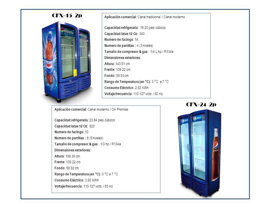 Aplicación comercial: Canal moderno / On Premise Capacidad refrigerada: 37.50 pies cúbicos Capacidad latas 12 Oz: 896 Numero de facings: 14 Numero de parrillas : 8 (5 niveles) Tamaño de compresor & gas: 1/2 hp / R134a Dimensiones exteriores: Altura: 196.85 cm Frente: 109.22 cm Fondo: 83.42 cm Rango de Temperatura (en °C): 3 °C a 7 °C Consumo Eléctrico: 4.35 KWh Voltaje/frecuencia: 110-127 volts / 60 Hz CFX-37 2p Aplicación comercial: On Premise Capacidad refrigerada: 62.86 pies cúbicos Capacidad latas 12 Oz: 1488 Numero de facings: 27 Numero de parrillas : 12 (4 niveles) Tamaño de compresor & gas: 1/3 hp / R134a Dimensiones exteriores: Altura: 199.39 cm Frente: 201.93 cm Fondo: 77.47 cm Rango de Temperatura (en °C): 3 °C a 7 °C Consumo Eléctrico: 5.75 KWh Voltaje/frecuencia: 110-127 volts / 60 Hz CFX-64 3p