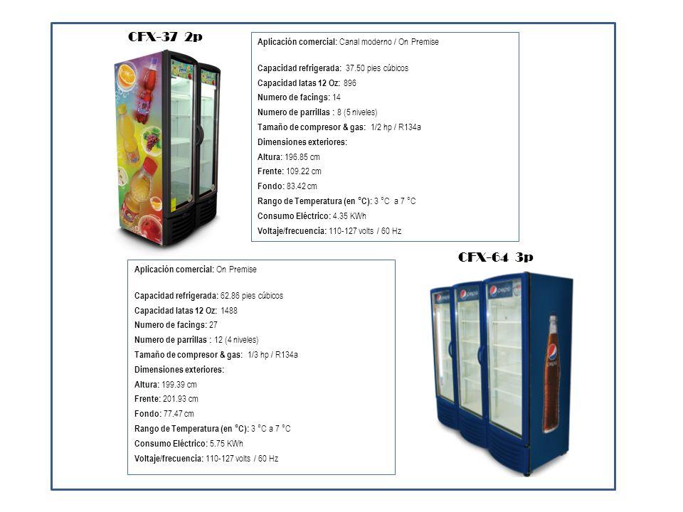 Aplicación comercial: Canal moderno Capacidad refrigerada: 7.12 pies cúbicos Capacidad latas 12 Oz: 300 Numero de facings: 10 Numero de parrillas : 2 (2 niveles) Tamaño de compresor & gas: 3/4 hp / R134a Dimensiones exteriores: Altura: 153.00 cm Frente: 80.00 cm Fondo: 82.50 cm Rango de Temperatura (en °C): 3 °C a 7 °C Consumo Eléctrico: 13.26 KWh Voltaje/frecuencia: 110-127 volts / 60 Hz SIGHT-80 Aplicación comercial: Canal moderno Capacidad refrigerada: 12.66 pies cúbicos Capacidad latas 12 Oz: 462 Numero de facings: 11 Numero de parrillas : 2 (3 niveles) Tamaño de compresor & gas: 1/3 hp / R134a Dimensiones exteriores: Altura: 159.70 cm Frente: 91.44 cm Fondo: 61.12 cm Rango de Temperatura (en °C): 3 °C a 7 °C Consumo Eléctrico: Voltaje/frecuencia: 110-127 volts / 60 Hz PT-300