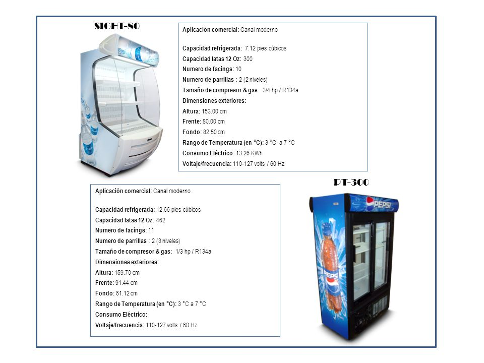 Aplicación comercial: Canal tradicional Capacidad refrigerada: 7.68 pies cúbicos Capacidad latas 12 Oz: 276 Numero de facings: Numero de parrillas : 2 (2 niveles) Tamaño de compresor & gas: 1/6 hp / R134a Dimensiones exteriores: Altura: 126.40 cm Frente: 57.60 cm Fondo: 56.10 cm Rango de Temperatura (en °C): 3 °C a 7 °C Consumo Eléctrico: 1.26 KWh Voltaje/frecuencia: 110-127 volts / 60 Hz CRV-140 Aplicación comercial: Canal tradicional Capacidad refrigerada: 15.80 pies cúbicos Capacidad latas 12 Oz: 670 Numero de facings: Numero de parrillas : 4 (4 niveles) Tamaño de compresor & gas: 1/4 hp / R134a Dimensiones exteriores: Altura: 199.40 cm Frente: 65.10 cm Fondo: 65.20 cm Rango de Temperatura (en °C): 3 °C a 7 °C Consumo Eléctrico: 2.54 KWh Voltaje/frecuencia: 110-127 volts / 60 Hz CRV-340