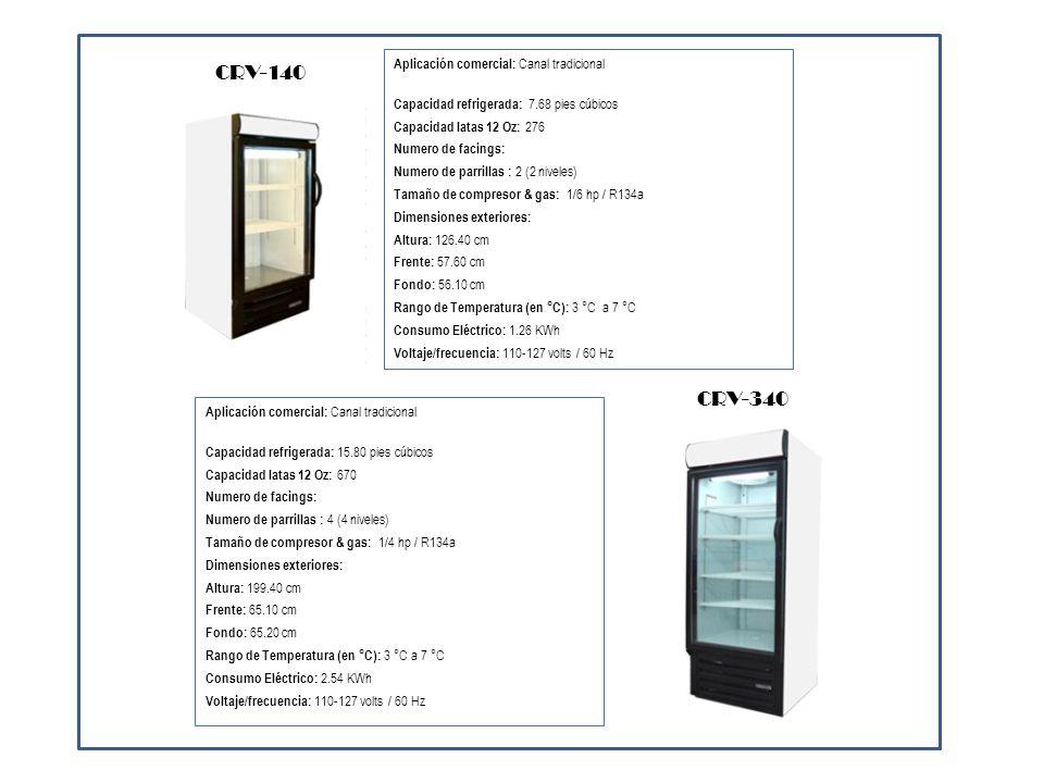 Aplicación comercial: Canal tradicional Capacidad refrigerada: 58.22 pies cúbicos Capacidad latas 12 Oz: 2252 Numero de facings: Numero de parrillas : 12 (4 niveles) Tamaño de compresor & gas: 1/3 hp / R134a Dimensiones exteriores: Altura: 199.40 cm Frente: 190.50 cm Fondo: 75.40 cm Rango de Temperatura (en °C): 3 °C a 7 °C Consumo Eléctrico: 5.75 KWh Voltaje/frecuencia: 110-127 volts / 60 Hz CRV-1100 Aplicación comercial: Canal tradicional Capacidad refrigerada: 35.7 pies cúbicos Capacidad latas 12 Oz: 1448 Numero de facings: 14 Numero de parrillas : 8 (5 niveles) Tamaño de compresor & gas: 1/2 hp / R134a Dimensiones exteriores: Altura: 199.40 cm Frente: 150.80 cm Fondo: 61.40 cm Rango de Temperatura (en °C): 3 °C a 7 °C Consumo Eléctrico: 4.35 KWh Voltaje/frecuencia: 110-127 volts / 60 Hz CRV-650