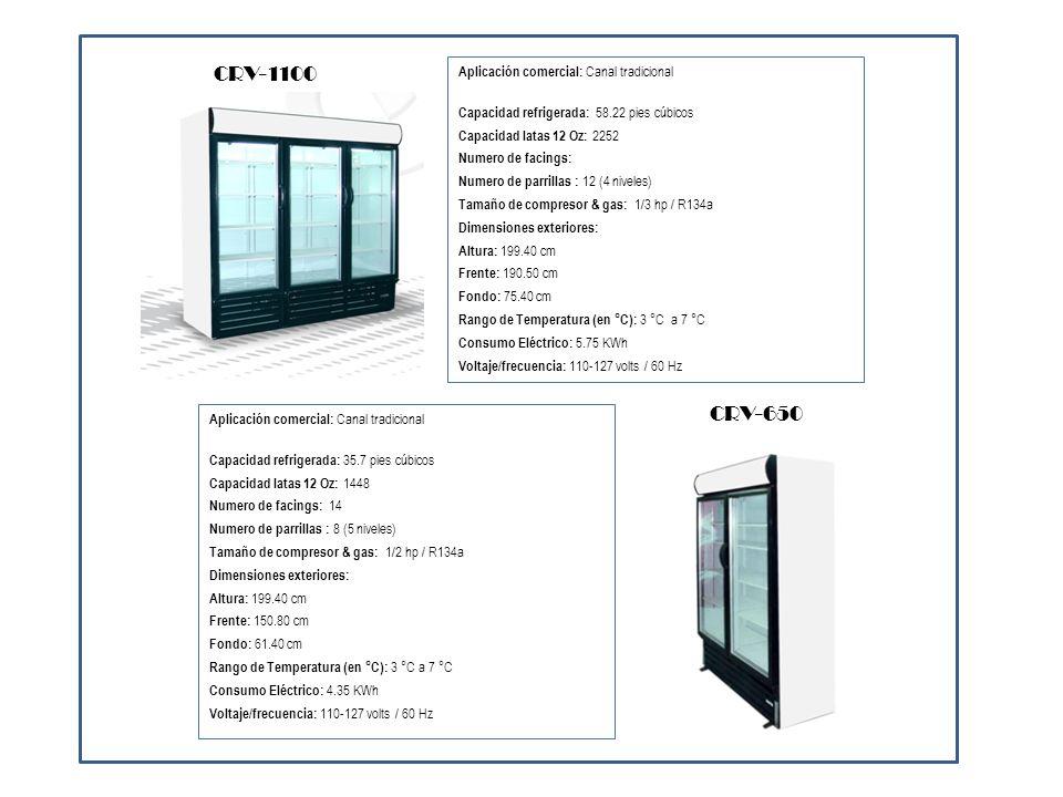 Aplicación comercial: Canal moderno Capacidad refrigerada: 7.68 pies cúbicos Capacidad botellas 12 Oz: 396 Numero de facings: 10 Numero de parrillas : 4 (5 niveles) Tamaño de compresor & gas: 1/4 L hp / R134a Dimensiones exteriores: Altura: 199.40 cm Frente: 77.20 cm Fondo: 57.50 cm Rango de Temperatura (en °C): 0 °C a -8 °C Consumo Eléctrico: 6.08 KWh Voltaje/frecuencia: 110-127 volts / 60 Hz CVZ-19 PS Aplicación comercial: Canal moderno Capacidad refrigerada: 31 pies cúbicos Capacidad botellas 12 Oz: 1206 Numero de facings: Numero de parrillas : 3 Tamaño de compresor & gas: R134a Dimensiones exteriores: Altura: 82.47 cm Frente: 243.04 cm Fondo: 67.95 cm Rango de Temperatura (en °C): 0 °C a -8 °C Consumo Eléctrico: Voltaje/frecuencia: 110-127 volts / 60 Hz CDF-240