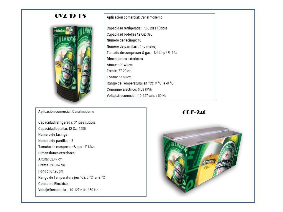 Aplicación comercial: Canal moderno Capacidad refrigerada: 7.68 pies cúbicos Capacidad botellas 12 Oz: 396 Numero de facings: 10 Numero de parrillas :