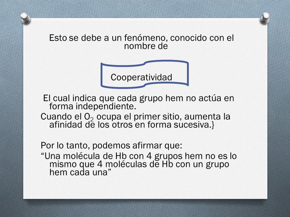 Esto se debe a un fenómeno, conocido con el nombre de Cooperatividad El cual indica que cada grupo hem no actúa en forma independiente.