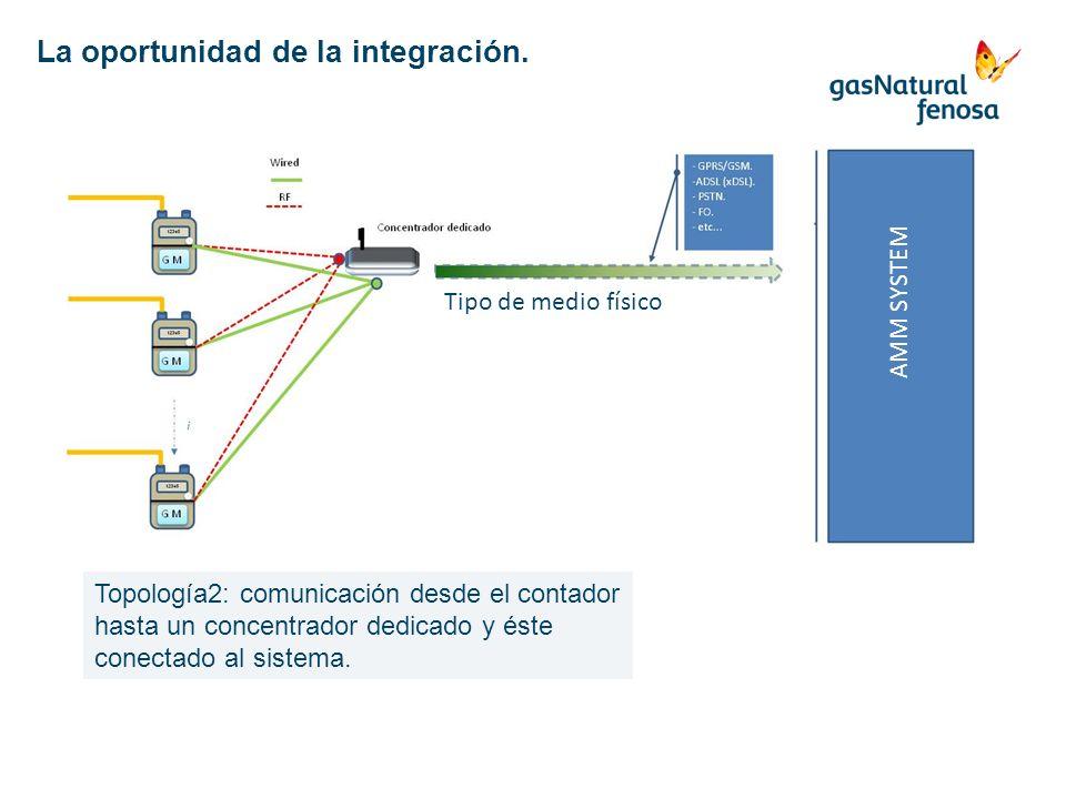 AMM SYSTEM Tipo de medio físico Topología2: comunicación desde el contador hasta un concentrador dedicado y éste conectado al sistema. La oportunidad
