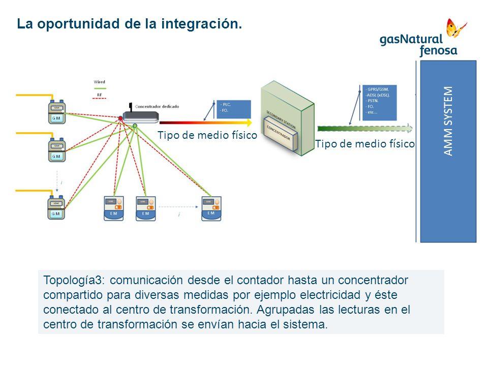 AMM SYSTEM Tipo de medio físico Topología3: comunicación desde el contador hasta un concentrador compartido para diversas medidas por ejemplo electric