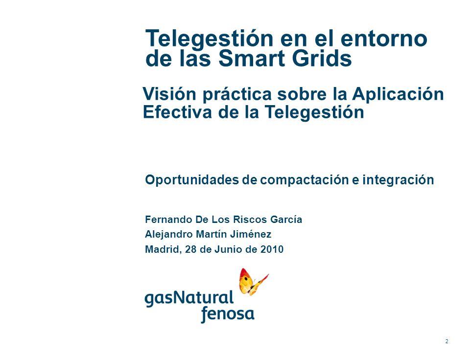 Telegestión en el entorno de las Smart Grids Visión práctica sobre la Aplicación Efectiva de la Telegestión Oportunidades de compactación e integració