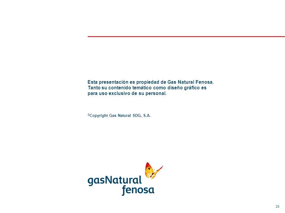 28 Esta presentación es propiedad de Gas Natural Fenosa. Tanto su contenido temático como diseño gráfico es para uso exclusivo de su personal. © Copyr