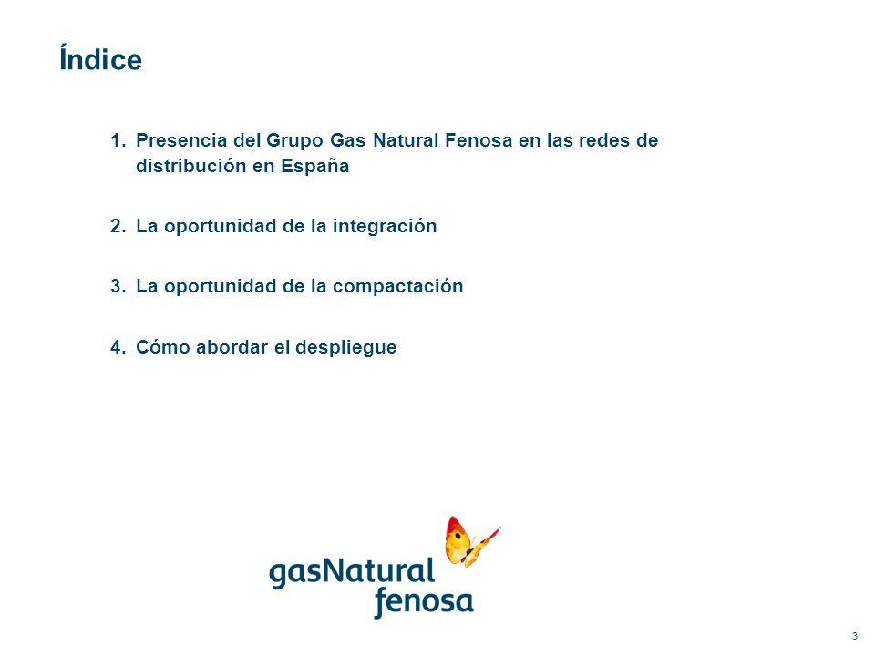 Índice 1.Presencia del Grupo Gas Natural Fenosa en las redes de distribución en España 2.La oportunidad de la integración 3.La oportunidad de la compa