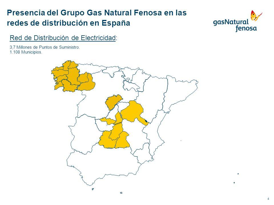 5 Red de Distribución de Gas: 5,2 millones de puntos de suministro 929 municipios Presencia del Grupo Gas Natural Fenosa en las redes de distribución en España