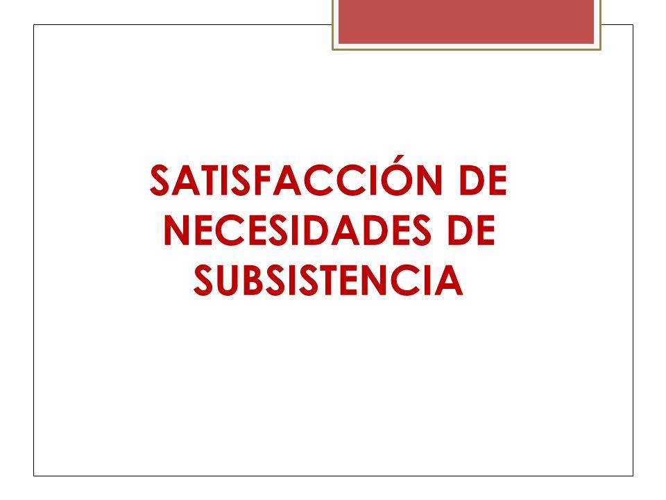 SATISFACCIÓN DE NECESIDADES DE SUBSISTENCIA