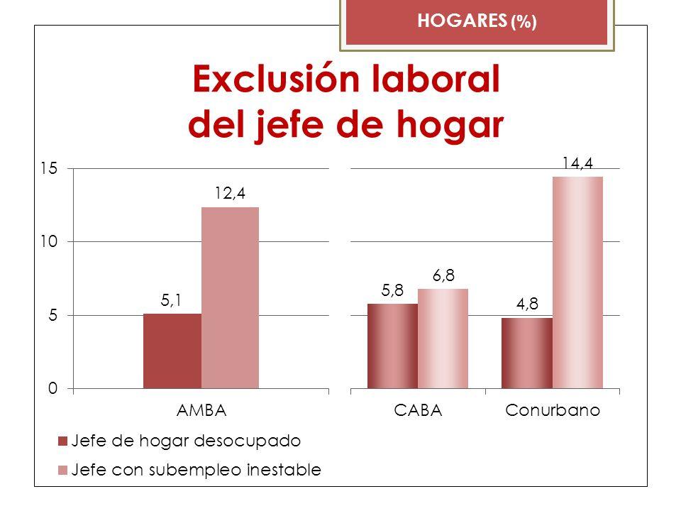 Exclusión laboral del jefe de hogar HOGARES (%)