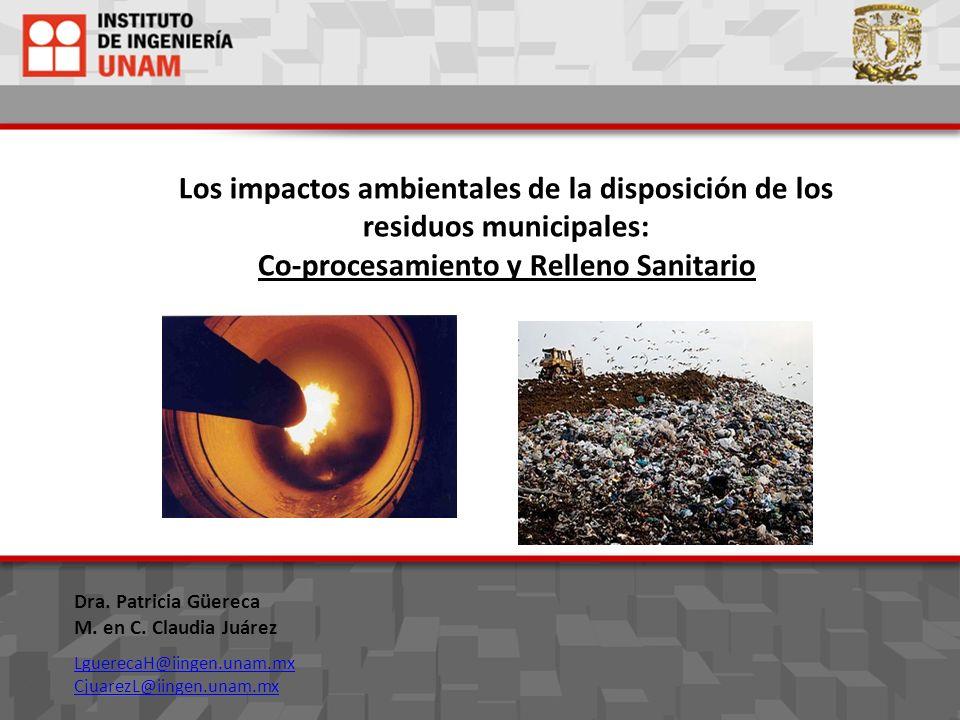 Los impactos ambientales de la disposición de los residuos municipales: Co-procesamiento y Relleno Sanitario Dra. Patricia Güereca M. en C. Claudia Ju