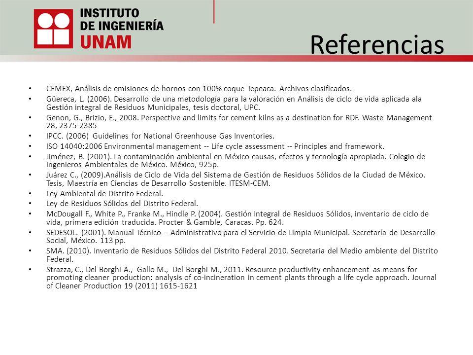 Referencias CEMEX, Análisis de emisiones de hornos con 100% coque Tepeaca. Archivos clasificados. Güereca, L. (2006). Desarrollo de una metodología pa