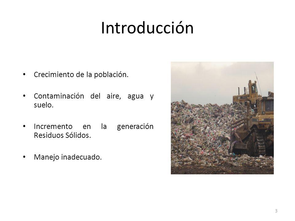 3 Introducción Crecimiento de la población. Contaminación del aire, agua y suelo. Incremento en la generación Residuos Sólidos. Manejo inadecuado.