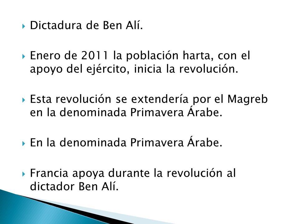 Dictadura de Ben Alí. Enero de 2011 la población harta, con el apoyo del ejército, inicia la revolución. Esta revolución se extendería por el Magreb e